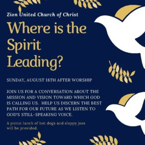 Where is the Spirit Leading?  A conversation on our mission and vision