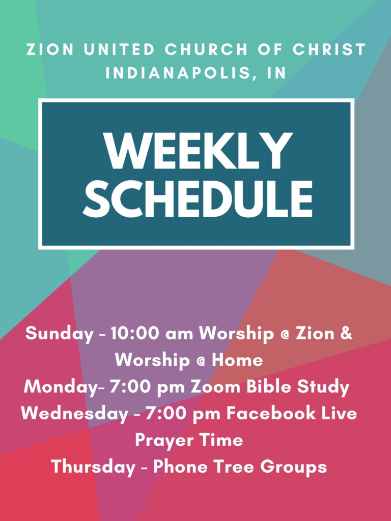 website weekly schedule with worship at zion